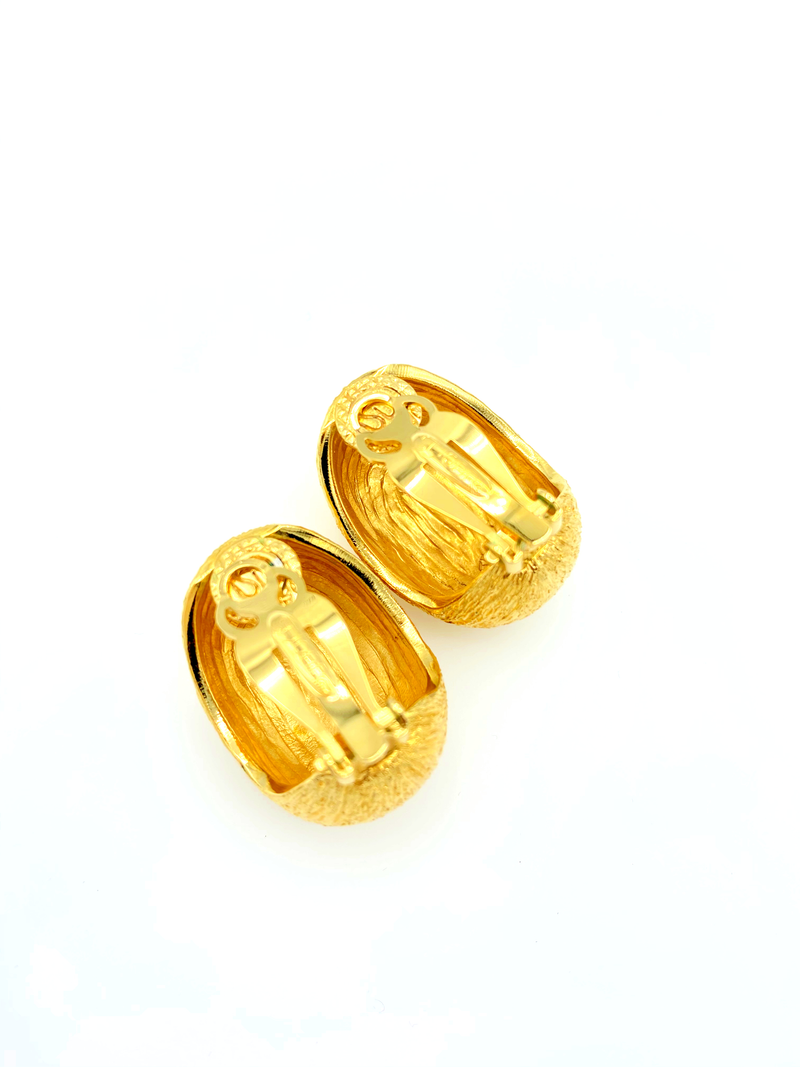 Vintage Gold St. John Textured Chunky Classic Vintage Earrings-Sustainable Fashion with Vintage Style-Trending Designer Fashion-24 Wishes