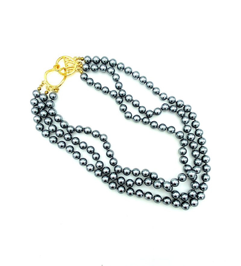 Kenneth Jay Lane Three Strand Gray Pearl KJL Necklace