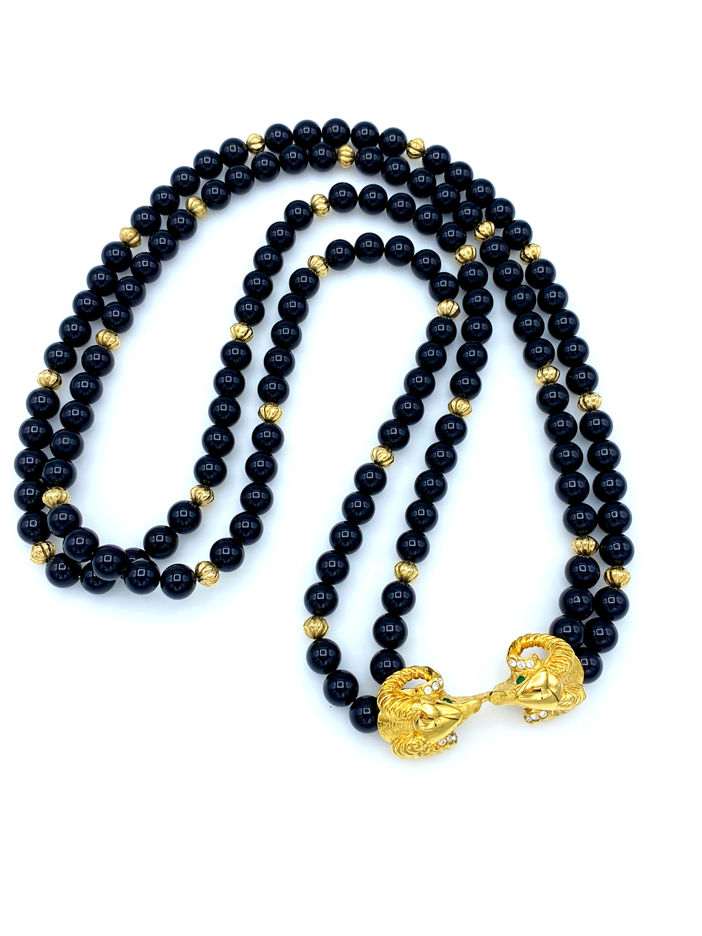 Kenneth Jay Lane Black Bead Two Strand Ram Head Pendant-Sustainable Fashion with Vintage Style-Trending Designer Fashion-24 Wishes