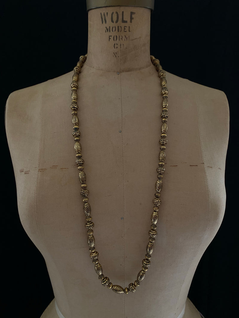 Kenneth Jay Lane Gold Boho Bead Long Vintage Necklace