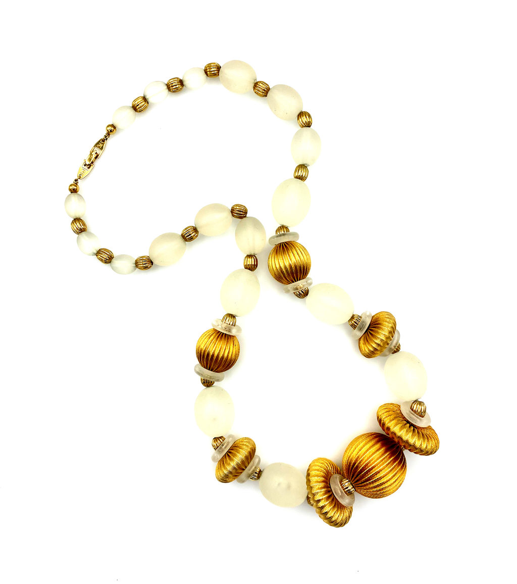 Pierre Cardin Satin Lucite Gold Beaded Necklace