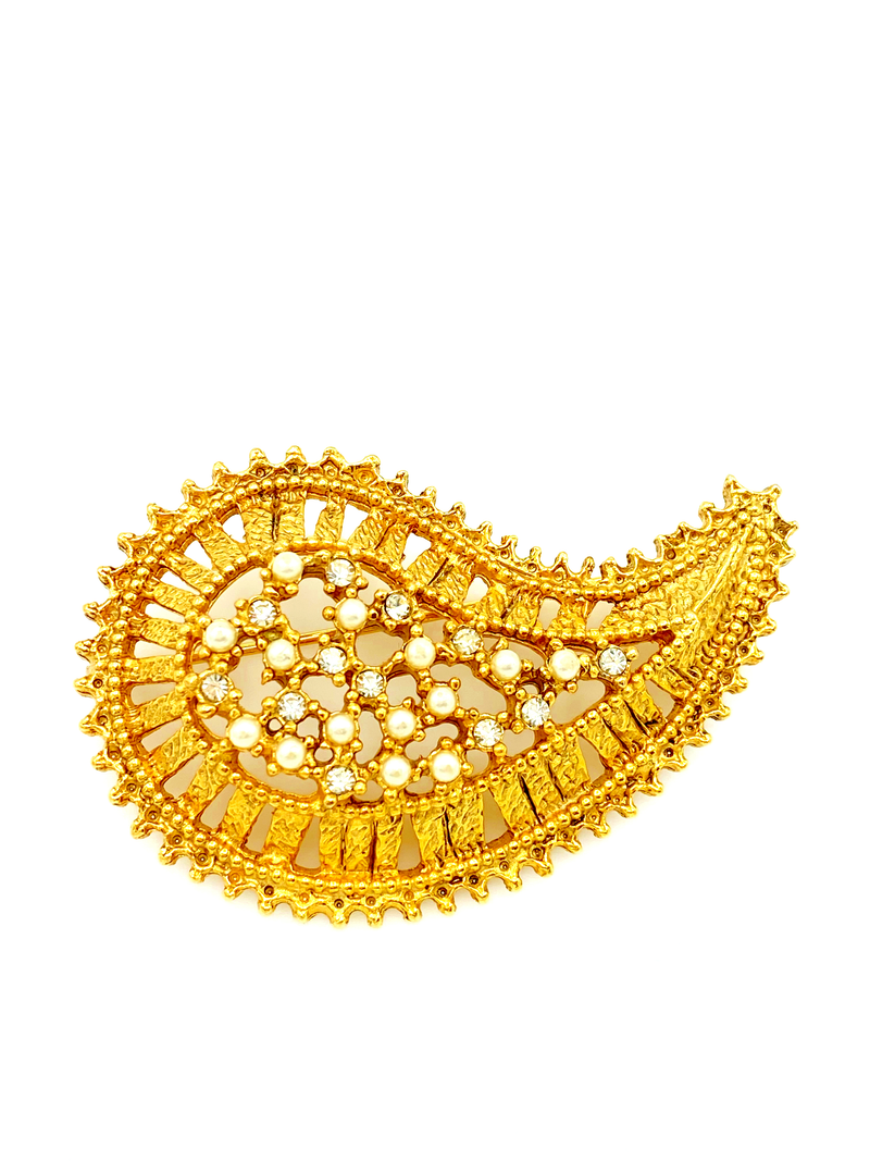 Marla Buck Gold Pearl & Rhinestone Textured Rhinestone Paisley Brooch-Sustainable Fashion with Vintage Style-Trending Designer Fashion-24 Wishes
