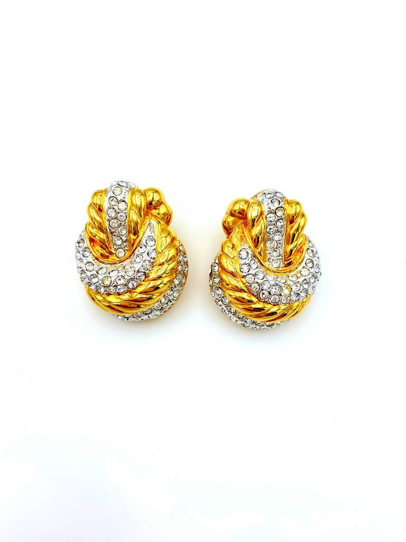 Nolan Miller Gold Rhinestone Knot Vintage Earrings-Sustainable Fashion with Vintage Style-Trending Designer Fashion-24 Wishes