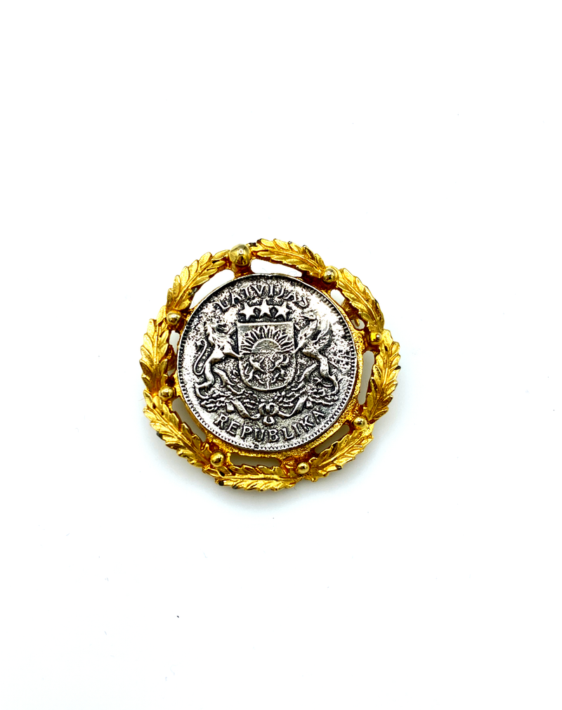 Classic Gold & Silver Coin Vintage Brooch by Mimi di N-Sustainable Fashion with Vintage Style-Trending Designer Fashion-24 Wishes