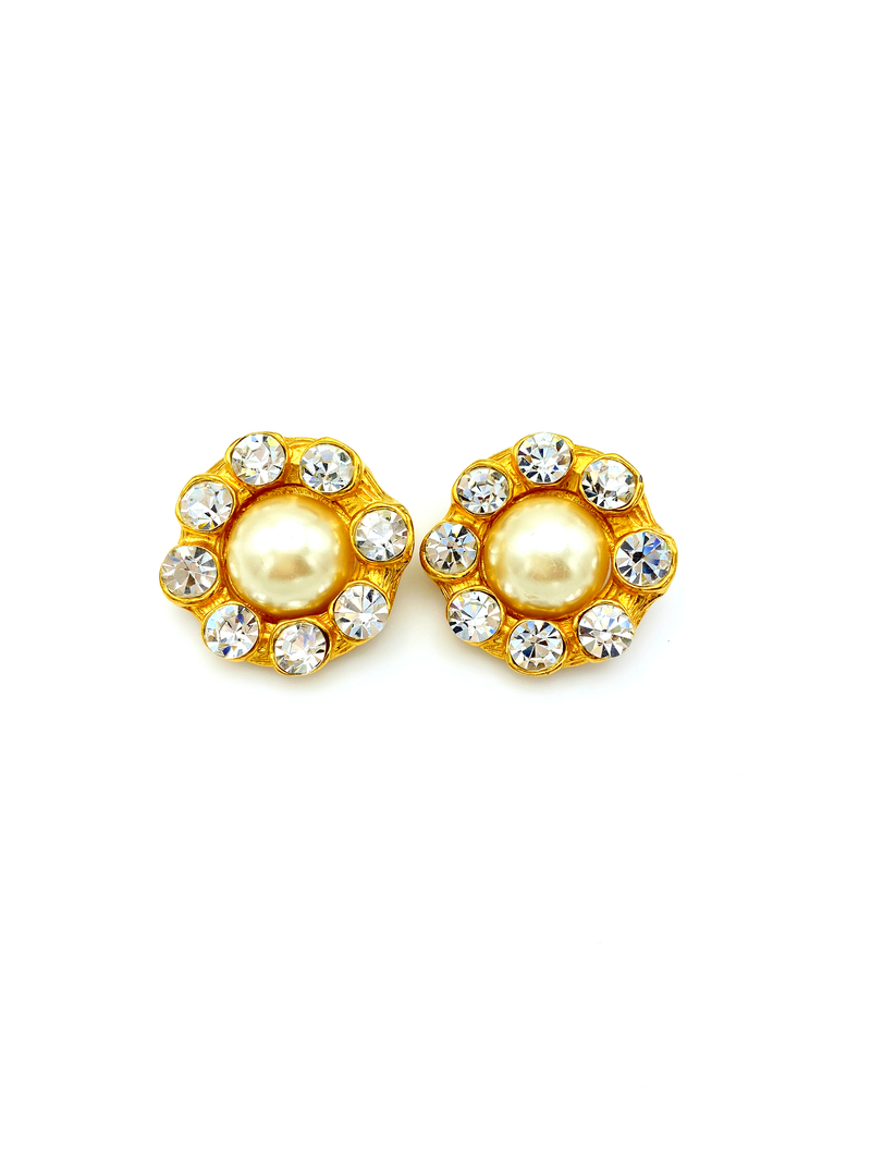 Large Gold Pearl & Rhinestone Statement Vintage Earrings