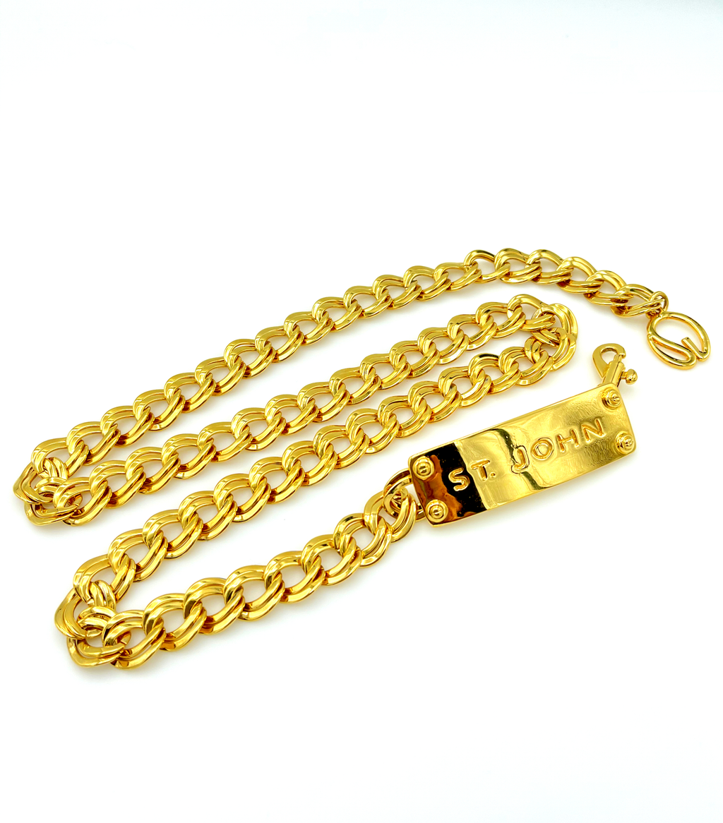 St. John Gold Curb Chain Logo Vintage Belt