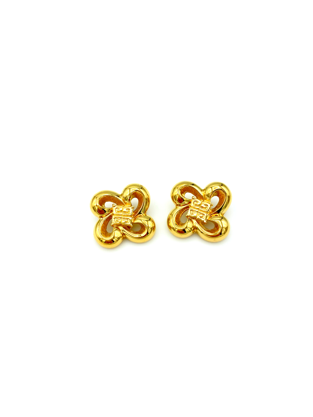 Classic Givenchy Gold Bow Logo Vintage Earrings-Sustainable Fashion with Vintage Style-Trending Designer Fashion-24 Wishes