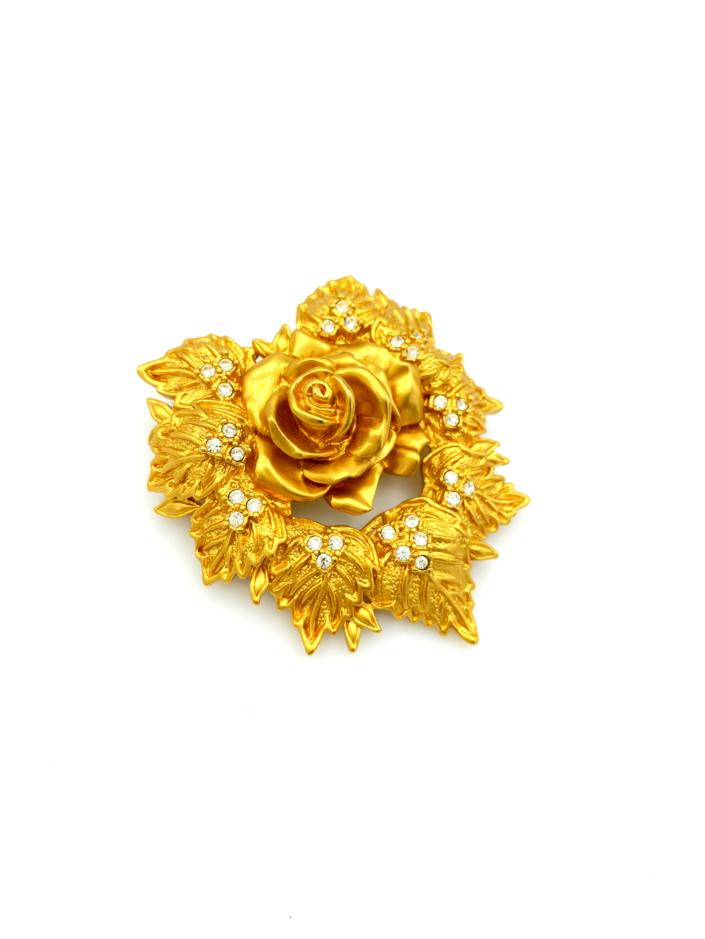 Elizabeth Taylor Gold Rose Love Blooms Vintage Brooch-Sustainable Fashion with Vintage Style-Trending Designer Fashion-24 Wishes