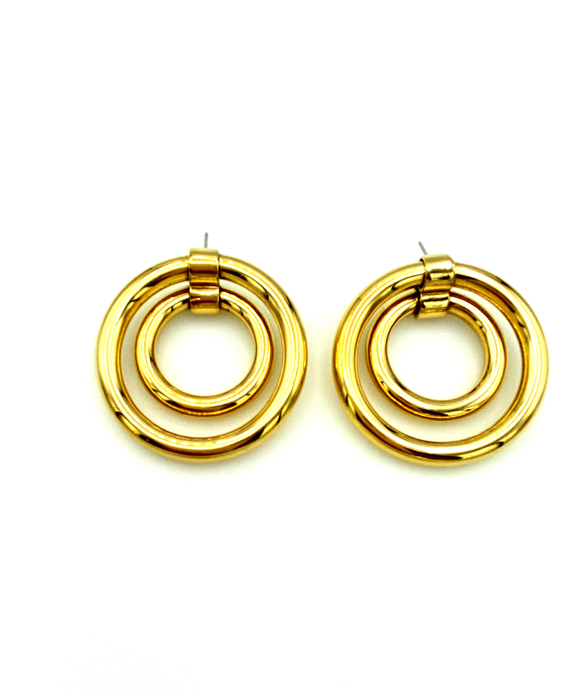 Gold Double Circle Hoop Vintage Pierced Earrings-Sustainable Fashion with Vintage Style-Trending Designer Fashion-24 Wishes