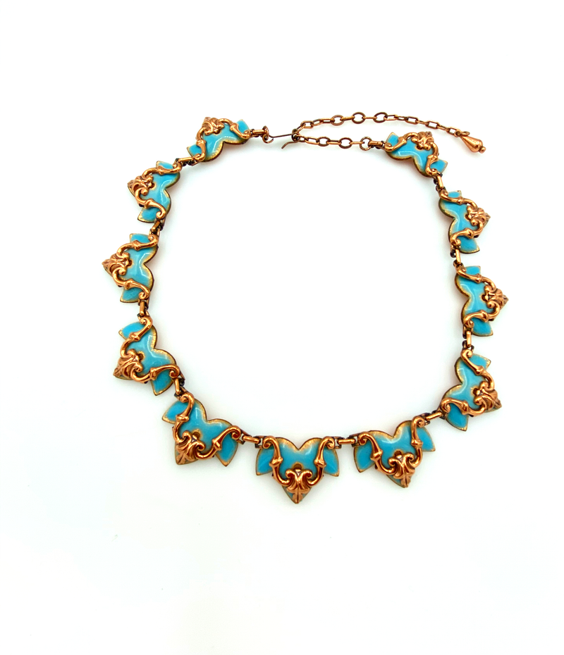 Vintage Scallop Matisse Copper Blue Enamel Necklace