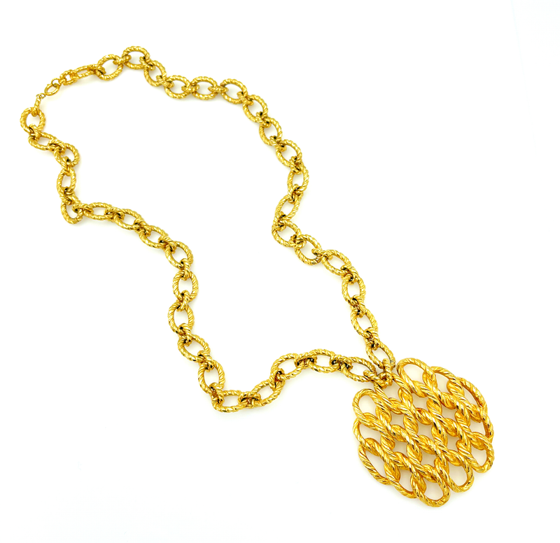 Ciner Gold Mod Braided Link Chain Statement Pendant