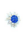Bright Blue Rhinestone Flower Vintage Silver Brooch-Sustainable Fashion with Vintage Style-Trending Designer Fashion-24 Wishes
