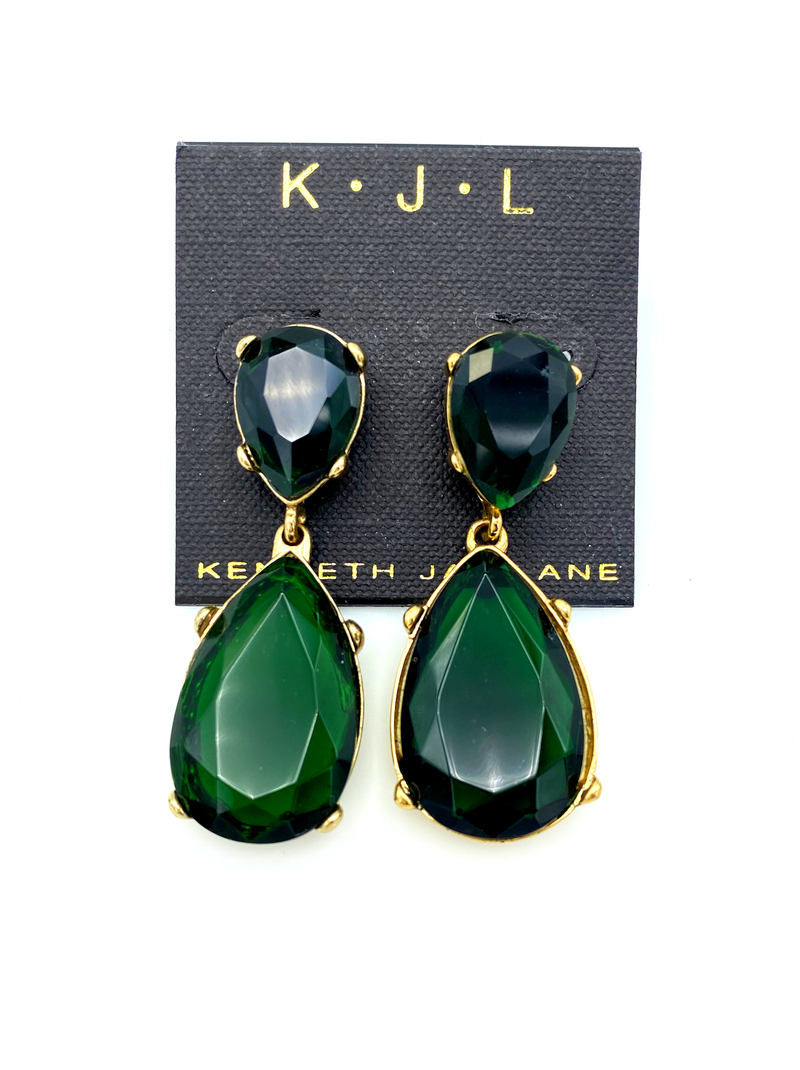 update alt-text with template Kenneth Jay Lane Green Emerald Teardrop Dangle Earring-Earrings-Kenneth Jay Lane-[trending designer jewelry]-[kenneth jay lane KJL jewelry]-[Sustainable Fashion]