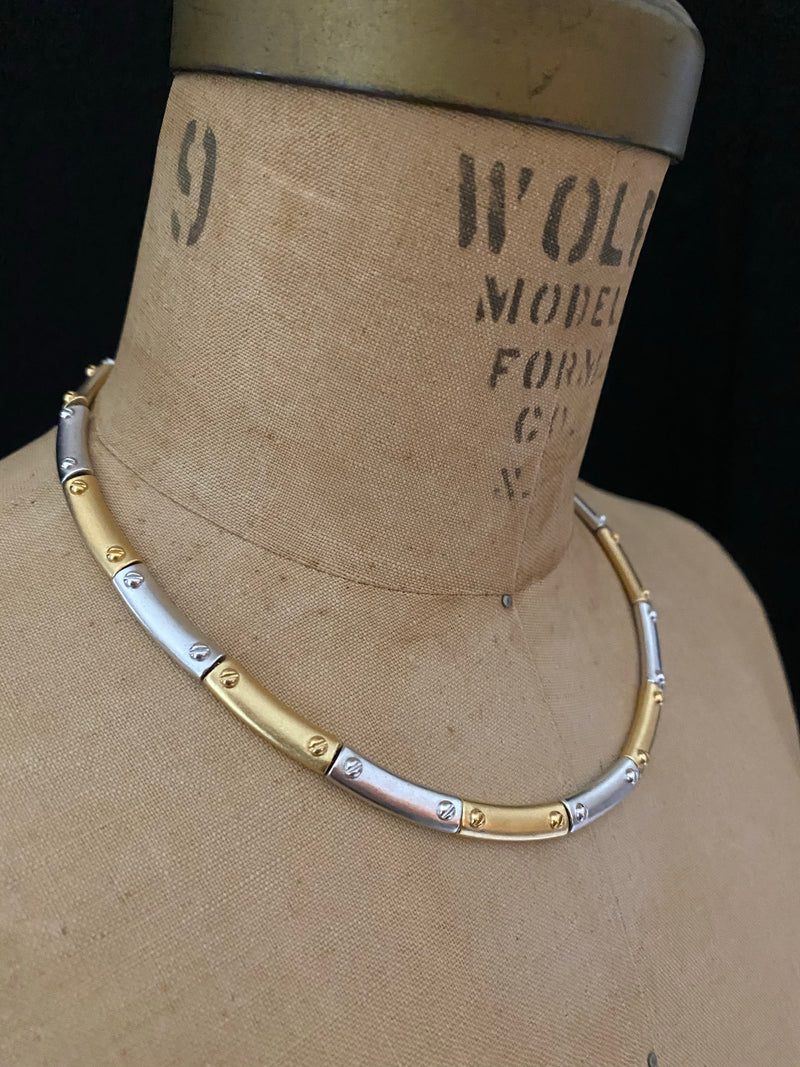 Monet Matt Gold & Silver Link Necklace