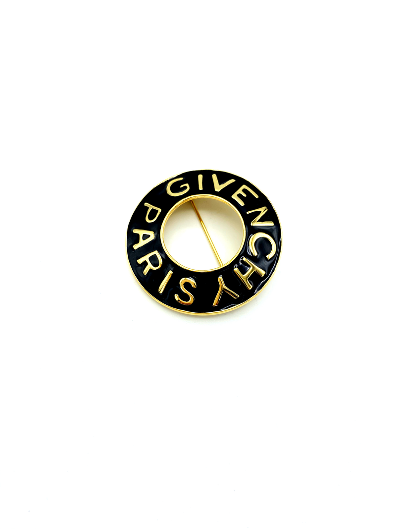 Classic Gold Givenchy Open Circle Black Enamel Logo Brooch Pin-Brooches & Pins-Givenchy-[trending designer jewelry]-[givenchy jewelry]-[Sustainable Fashion]