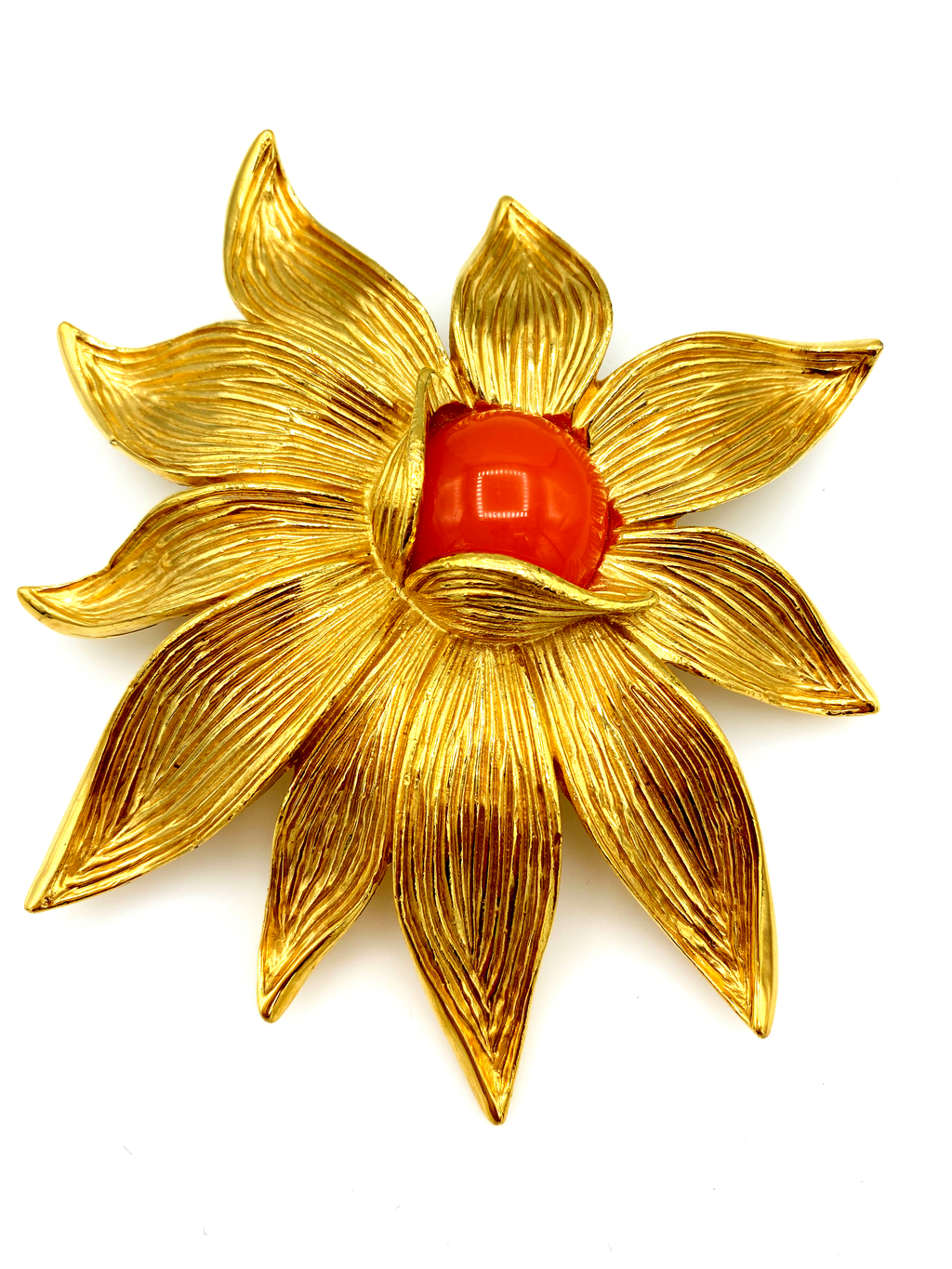 Gold Givenchy Large Orange Coral Cabochon Statement Brooch-Brooches & Pins-Givenchy-[trending designer jewelry]-[givenchy jewelry]-[Sustainable Fashion]