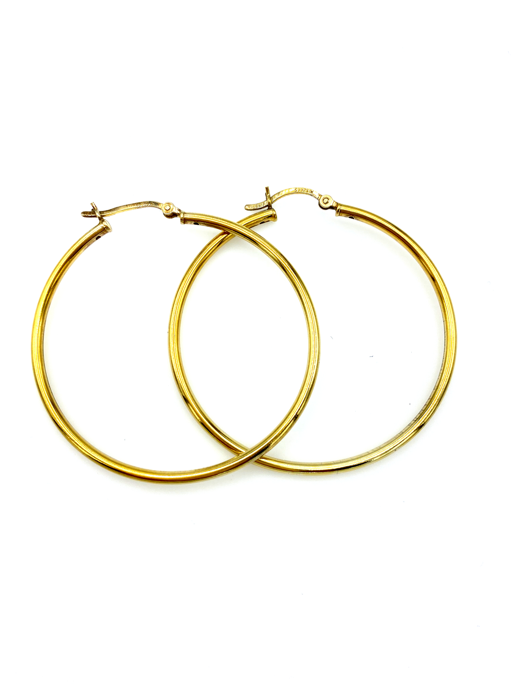 Gold Plated Sterling Silver Large Vintage Hoop Pierced Earrings