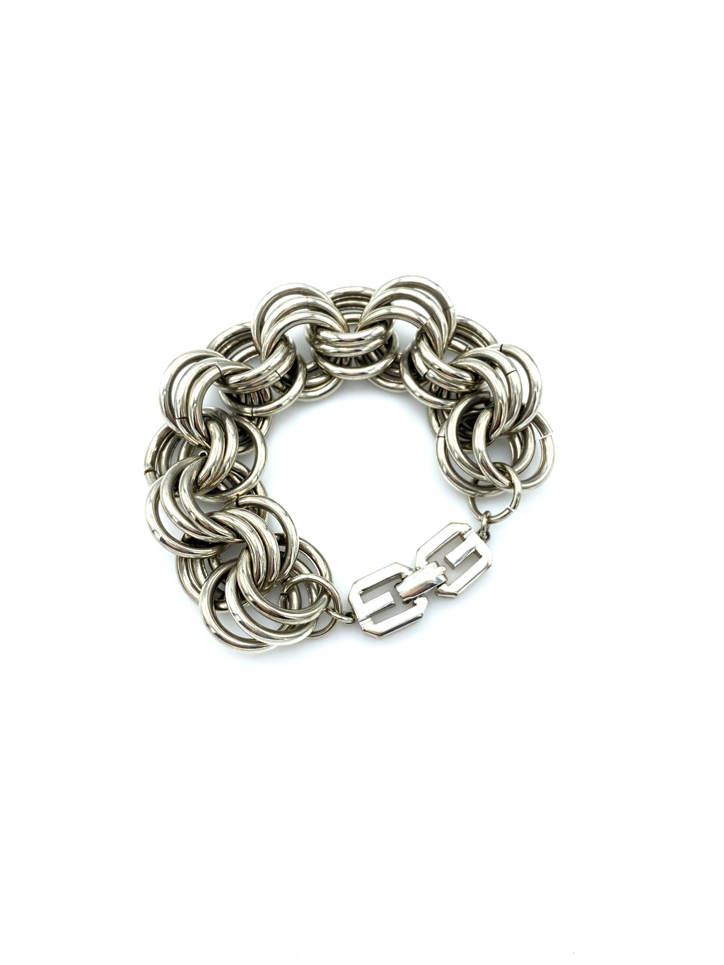 Givenchy Silver Three Link Stacking Chain Vintage Bracelet-Sustainable Fashion with Vintage Style-Trending Designer Fashion-24 Wishes