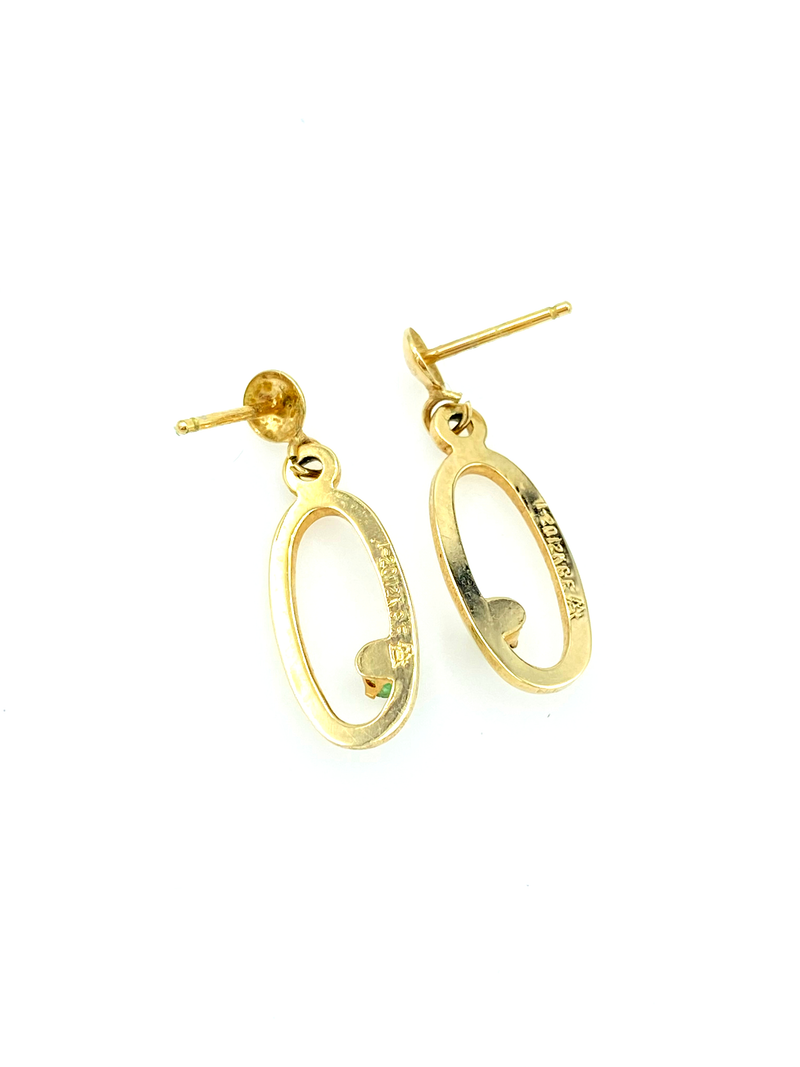12K Gold Filled Emerald Vintage Hoop Pierced Earrings