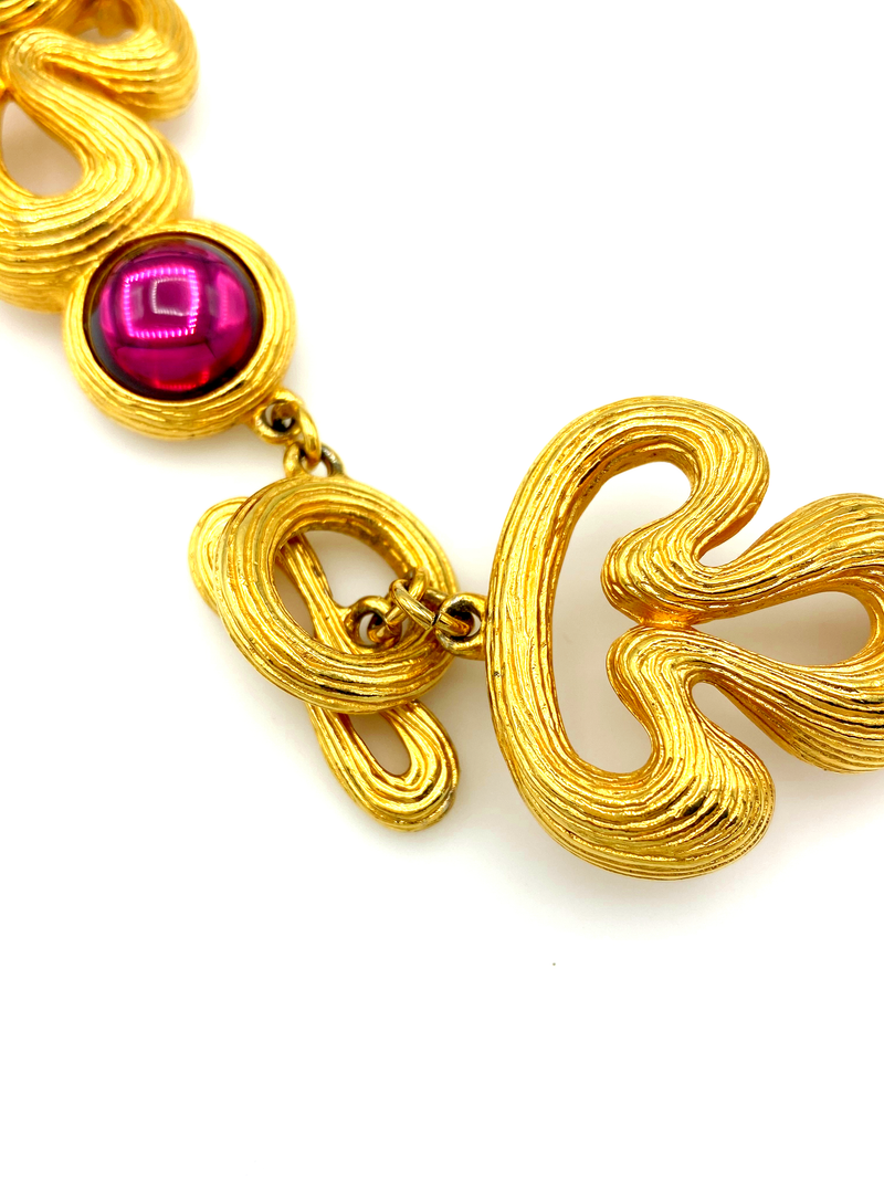 Gold Classic Givenchy Pink & Blue Cabochon Pendant