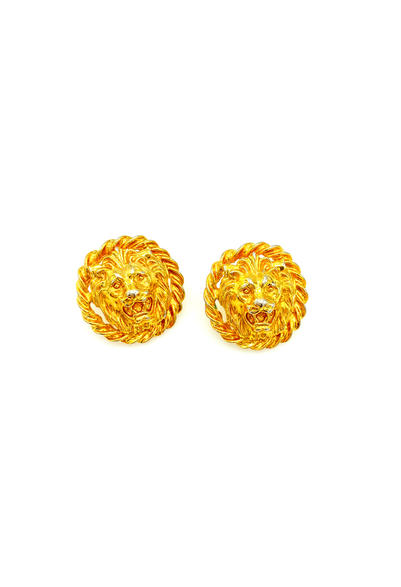 Gold Lion Medallion Pierced Earrings