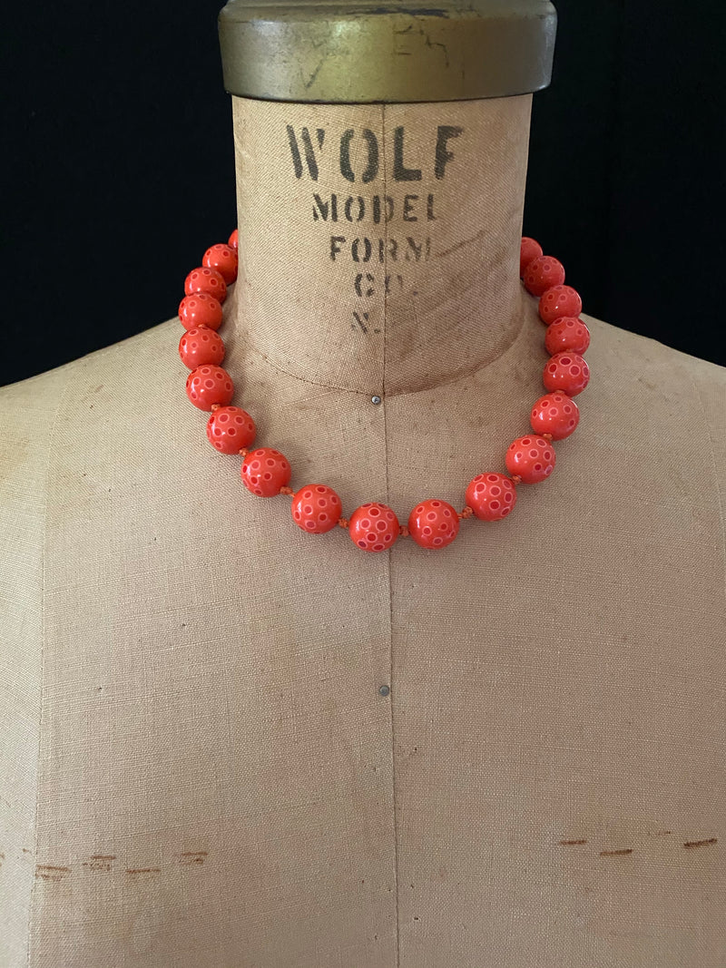 Les Bernard Coral Lucite Bead Layering Necklace