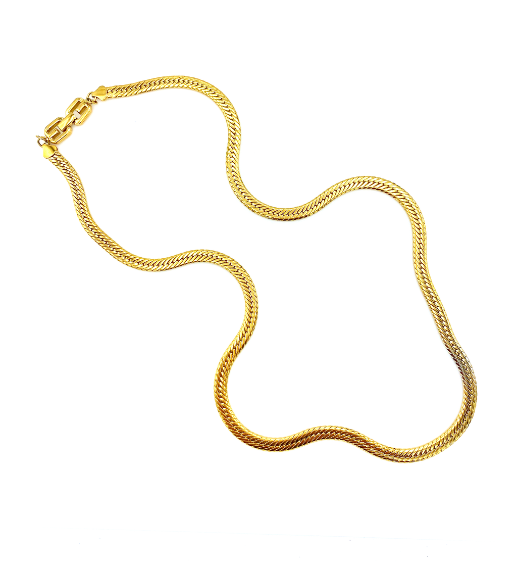 Gold Classic Givenchy Long Curb Chain Necklace-Sustainable Fashion with Vintage Style-Trending Designer Fashion-24 Wishes