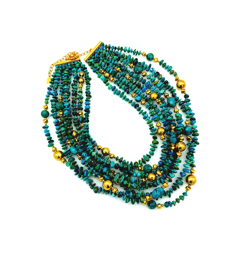 Barrera Green & Turquoise Gold Bead Boho Necklace