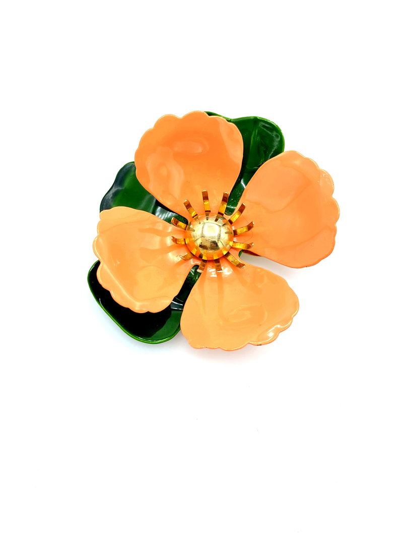 Sarah Coventry Orange Tahitian Enamel Flower Vintage Brooch-Sustainable Fashion with Vintage Style-Trending Designer Fashion-24 Wishes
