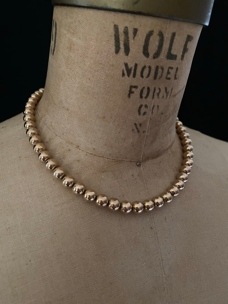12K Gold Filled Ball Bead Layering Vintage Necklace