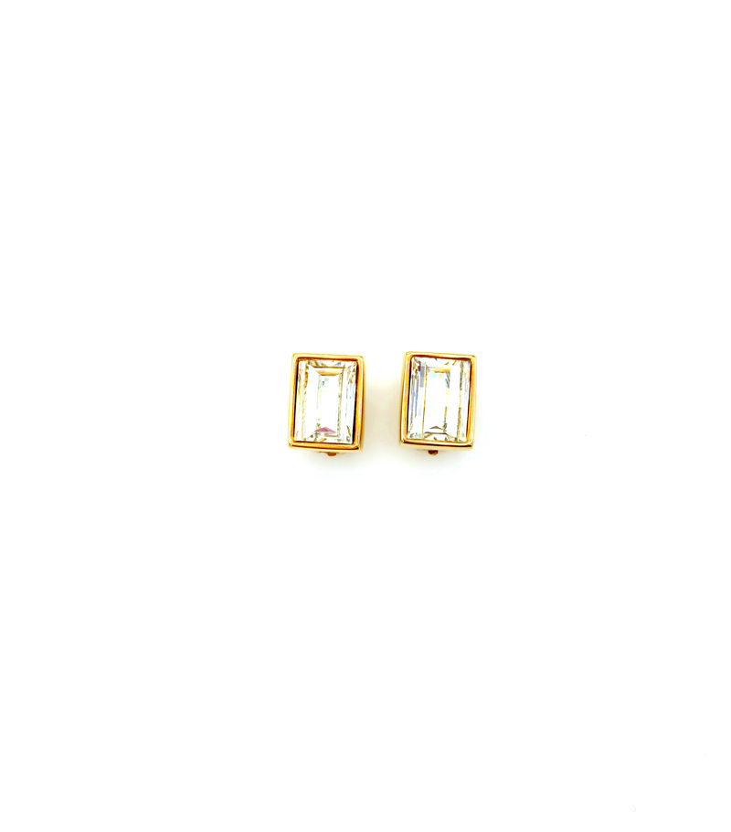 Vintage Gold Swarovski Rectangle Clear Crystal Clip On Earrings