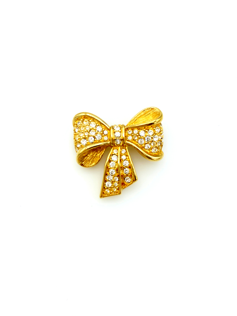 Gold Swarovski Petite Bow Rhinestone Brooch-Sustainable Fashion with Vintage Style-Trending Designer Fashion-24 Wishes