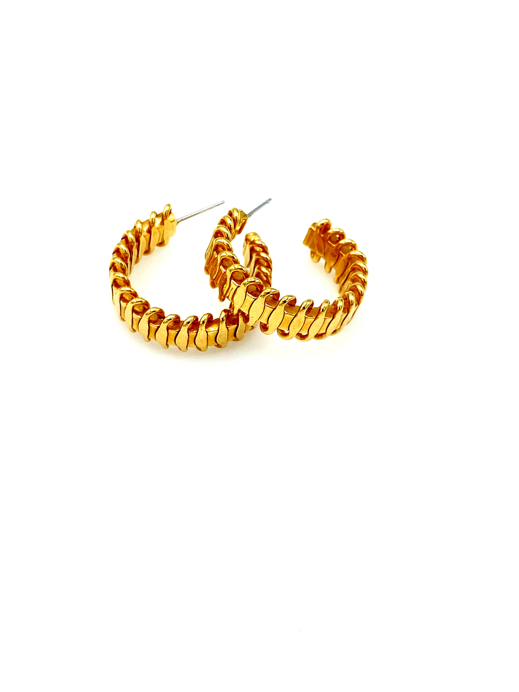 Zig Zag Medium Hoop Gold Pierced Earrings-Sustainable Fashion with Vintage Style-Trending Designer Fashion-24 Wishes