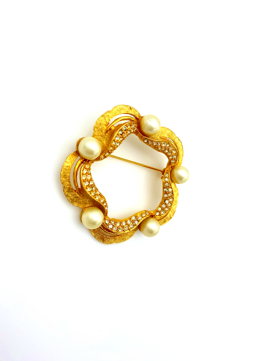 Classic Gold Rhinestone & Pearl Wreath Brooch by Karu Arke-Sustainable Fashion with Vintage Style-Trending Designer Fashion-24 Wishes