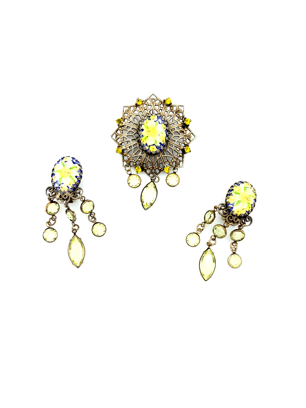 Hobe Yellow Enamel & Crystal Victorian Revival Floral Jewelry Set-Sustainable Fashion with Vintage Style-Trending Designer Fashion-24 Wishes