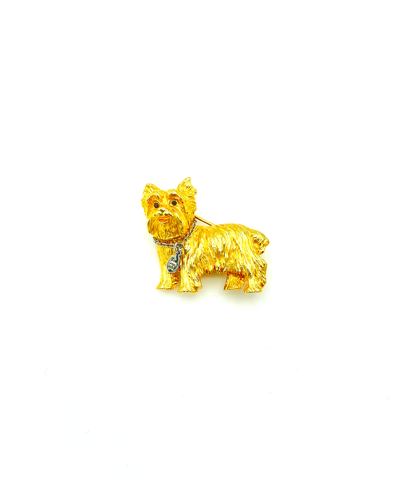 Joan Rivers Gold Yorkshire Terrier Dog Brooch Pin