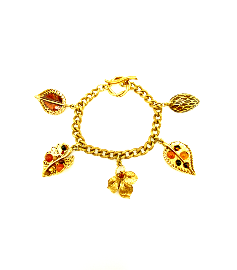 Oscar de la Renta Gold & Brown Leaf Charm Stacking Bracelet