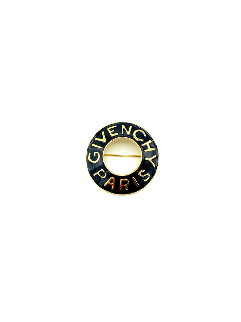 Classic Gold Givenchy Open Circle Black Enamel Logo Brooch Pin-Brooches & Pins-24 Wishes-Vintage Givenchy Jewelry