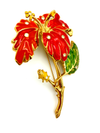 Jose Maria Barrera Large Gold Orange Enamel Flower Statement Brooch-Sustainable Fashion with Vintage Style-Trending Designer Fashion-24 Wishes