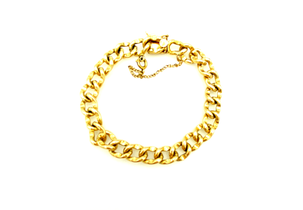 12K Gold Filled Curb Chain Link Layering Bracelet