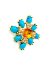 Sarah Coventry Blue Turquoise Cabochon Maltese Cross Brooch-Sustainable Fashion with Vintage Style-Trending Designer Fashion-24 Wishes