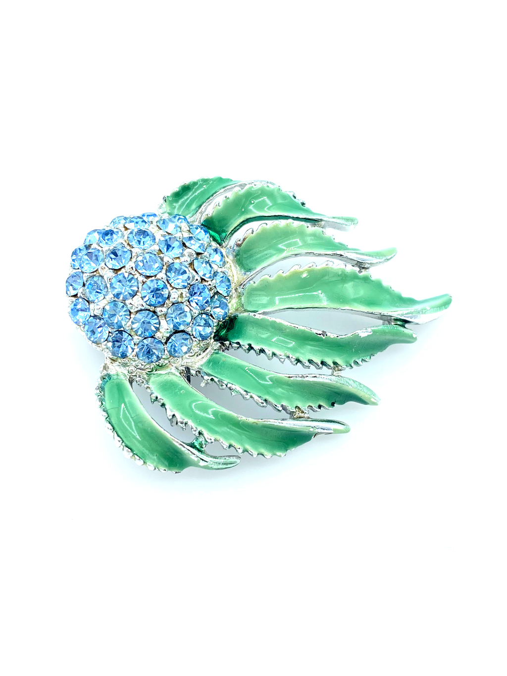 Light Blue Rhinestone & Green Enamel Floral Vintage Brooch-Sustainable Fashion with Vintage Style-Trending Designer Fashion-24 Wishes