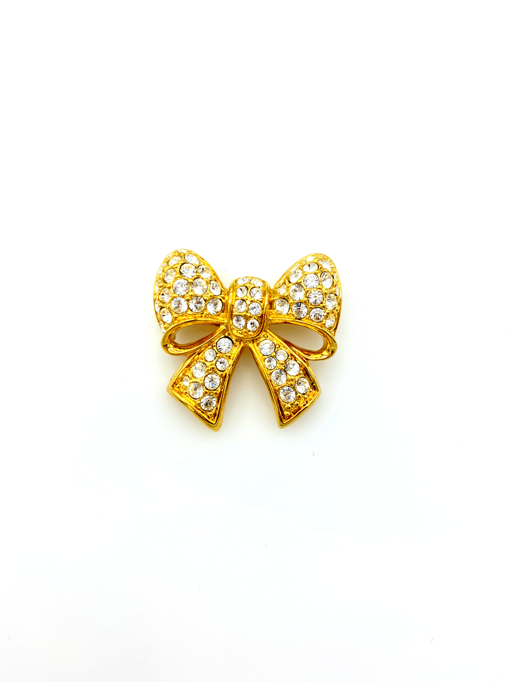 update alt-text with template Gold Swarovski Petite Pave Bow Rhinestone Brooch-Brooches & Pins-24 Wishes-[trending designer jewelry]-[swarovski jewelry]-[Sustainable Fashion]