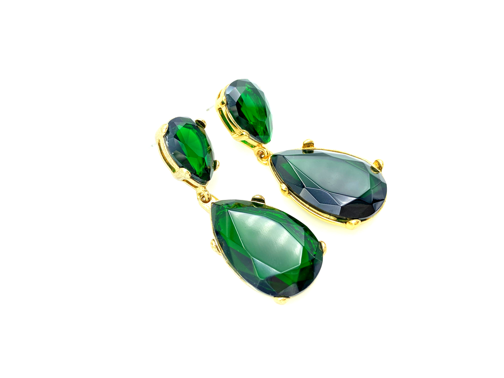 Kenneth Jay Lane Green Emerald Teardrop Dangle Earring-Sustainable Fashion with Vintage Style-Trending Designer Fashion-24 Wishes