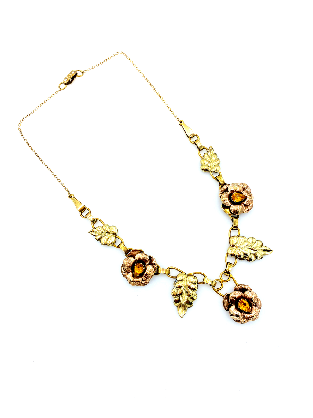 Gold Filled Floral Rhinestone Vintage Pendant-Sustainable Fashion with Vintage Style-Trending Designer Fashion-24 Wishes