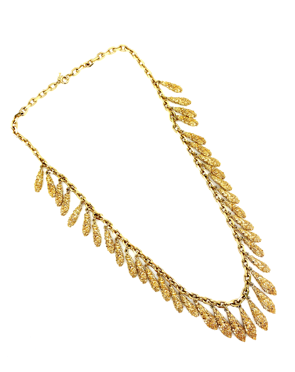 Trifari Gold Confetti Fringe Classic Necklace-Sustainable Fashion with Vintage Style-Trending Designer Fashion-24 Wishes