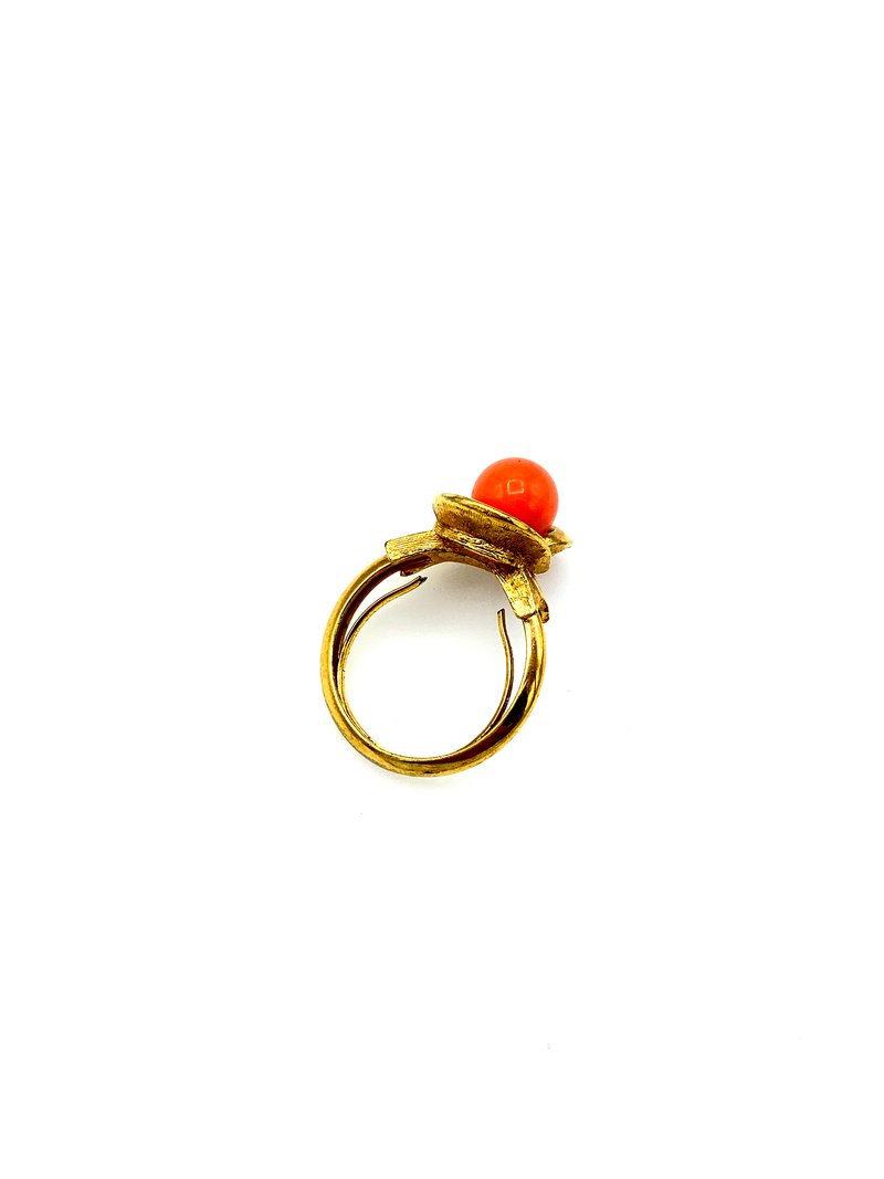 Avon Coral Floral Vintage Adjustable Cocktail Ring-Sustainable Fashion with Vintage Style-Trending Designer Fashion-24 Wishes