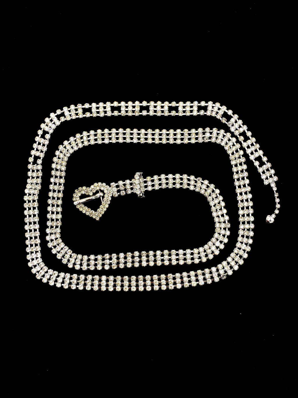 Clear White Rhinestone Heart Vintage Belt-Sustainable Fashion with Vintage Style-Trending Designer Fashion-24 Wishes
