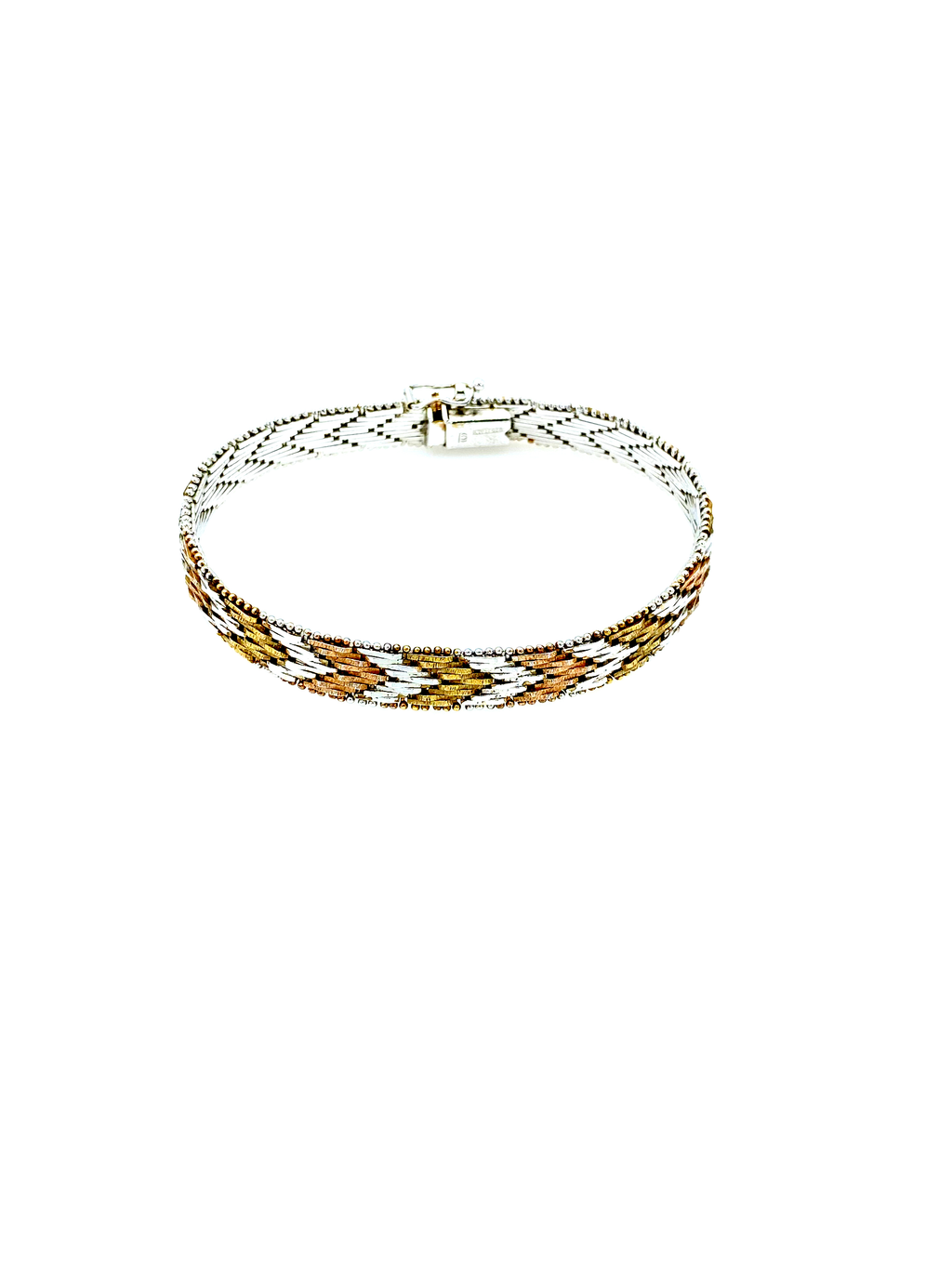Sterling Silver Tri-Color Chevron Vintage Stacking Bracelet