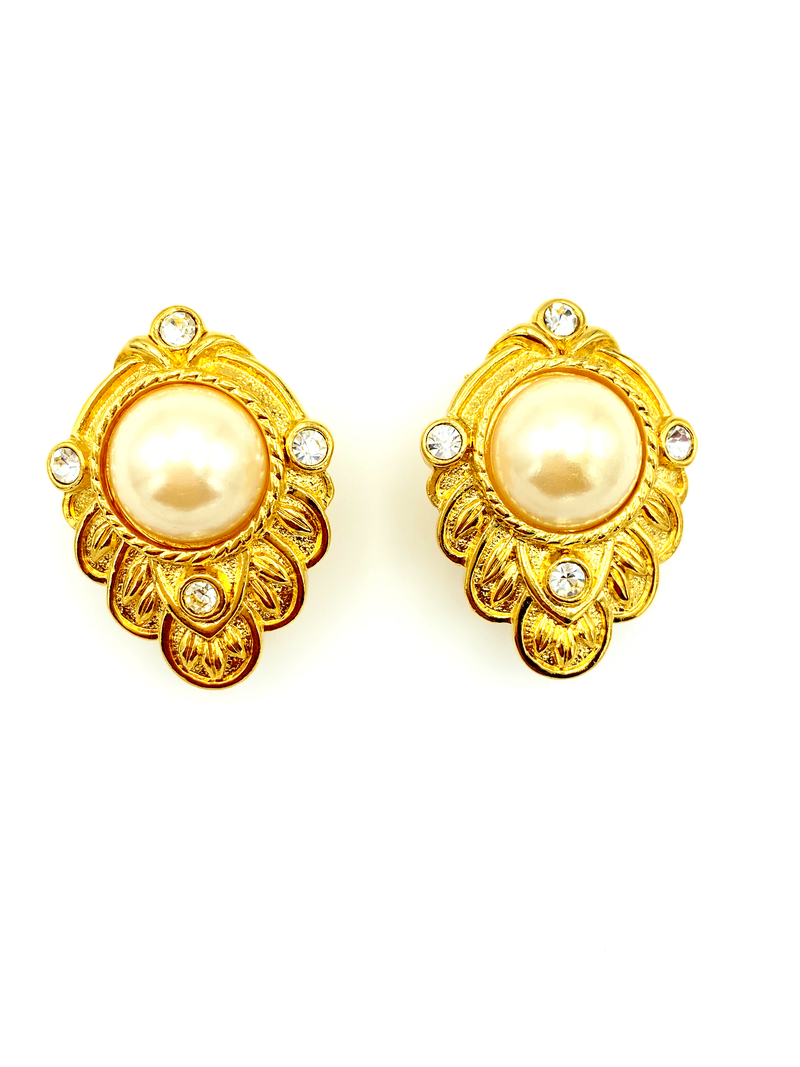 update alt-text with template Kenneth Jay Lane Gold Renaissance Rhinestone Pearl Vintage Earrings-Earrings-Kenneth Jay Lane-[trending designer jewelry]-[kenneth jay lane KJL jewelry]-[Sustainable Fashion]